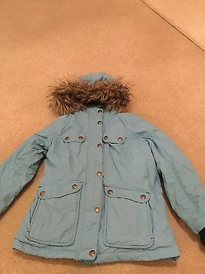 Girls Pale Blue Lands' End Down Coat age 6-7yrs