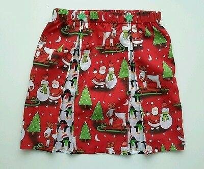 New Girls Pleated Christmas Themed Skirt. Age 6-9. Xmas Penguins. Xmas Jumpers.