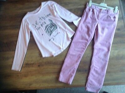MANGO Designer Age 8-9 Velour Pink/Lilac Skinny Trousers & Tunic Top Worn Once!