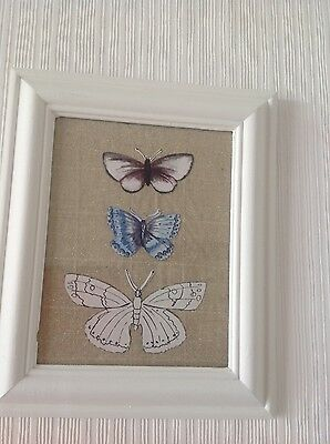 Shabby chic framed butterfly wall art white botanical country home decor gift