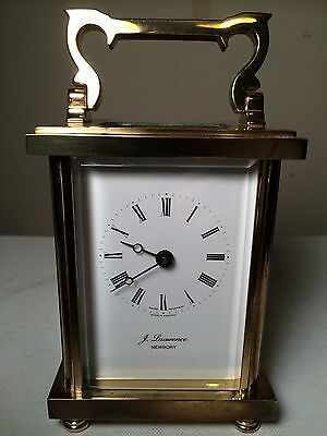 Brass 8 Day Carriage Clock By J Lawrence Of Newbury Excellent Condition