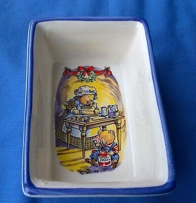 Vintage small oblong dish with Christmas Teddy Bear Baking design