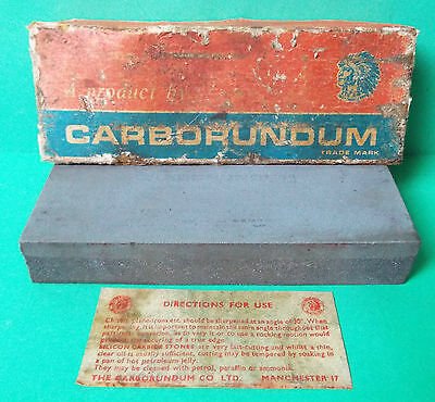"Vintage Carborundum Combination Sharpening Stone 109 6"" Silicon Carbide + Box"