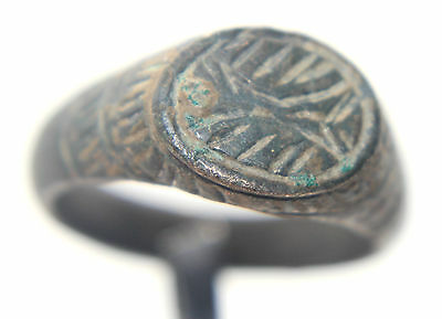 Medieval Europe Bronze Finger Ring With Ornate Bezel 900-1200 AD