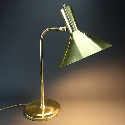 Vintage BRASS Cone Shade Desk Table Lamp MCM Mid Century