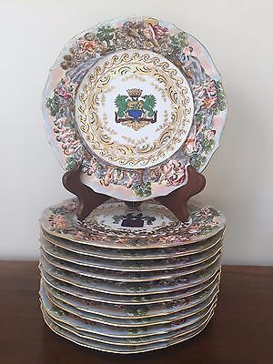 "Set of 12 Capodimonte Porcelain 9"" Plates ~ Made in Italy"