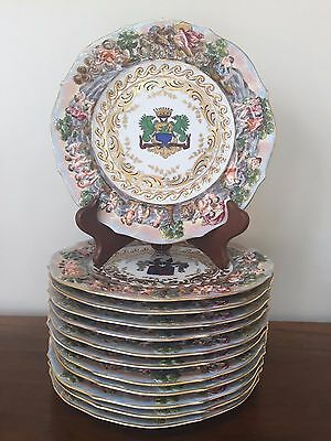 """Set of 12 Capodimonte Porcelain 9"""" Plates ~ Made in Italy"""