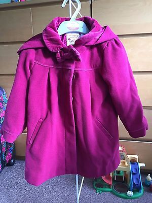Girls Hooded Winter Coat Dark Pink Age 2-3 No Reserve