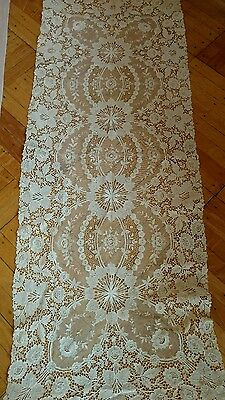 SHABBY antique VTG net lace runner TAMBOUR? OLD VICTORIAN