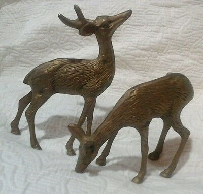 Vintage Solid Brass Deer Paper Weight Reindeer Pair Buck Doe