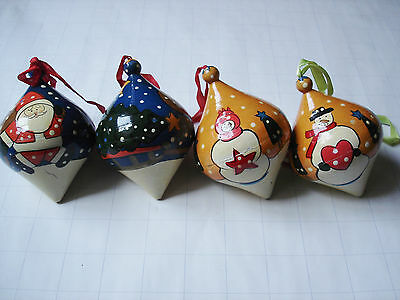 Lot of 4 Christmas Ornaments Teardrop Shaped Oval Ornaments Paper Mache? Wooden?