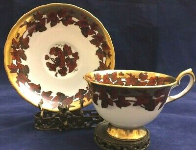 Vintage Royal Chelsea England Leaves & Gold Trim Cup and Saucer Set Pattern 488A