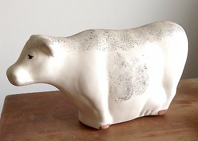 Sweet Silly Pudgy Sponge Painted Bisque Cow Collectible.