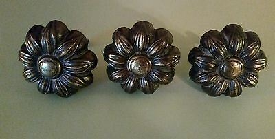 vintage Antique Brass Drawer Door Cabinet Knob Pull Flower Large