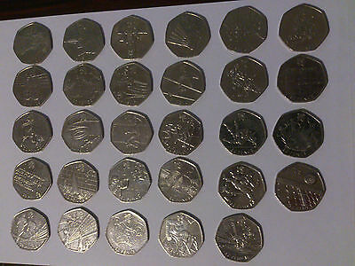 29x 50p olympic London 2012, full set of circulated 50 pence coins