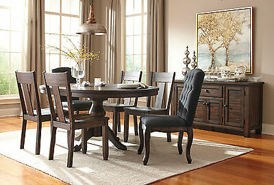 ALLEGRO - 7pcs Transitional Brown Round Oval Dining Room Table & Wood Chairs Set