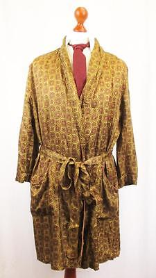 S-XL Vintage 1960's Mens Gold Brown Retro Pattern Silky Gown Smoking Jacket L458