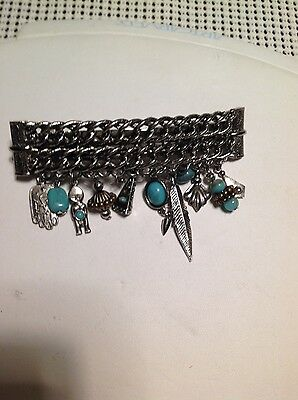 Vintage Hair Barrette Turquoise Charms Made in France