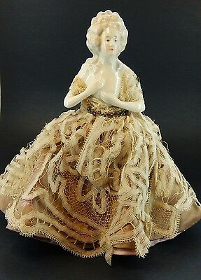 Half Doll Mounted on RARE Sauze Freres Chypre Perfume Art Deco Bottle, 1920's