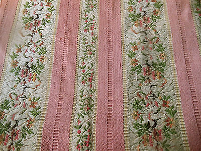 Antique French Pink Cream Floral Garland Lisere Brocade Fabric ~