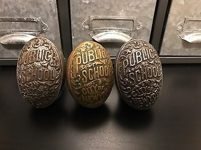 3 Brass Door Knob Public School City of New York 1900s Antique.