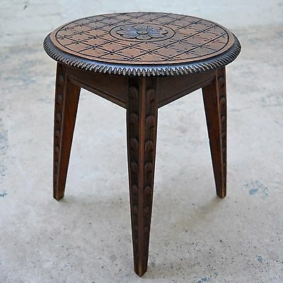 Antique French Breton style decorative carved oak stool / plant stand