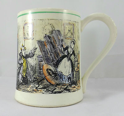 Vintage 30's Gray Pottery Mug A9009 Dickensian Scene Tom Moore Verse
