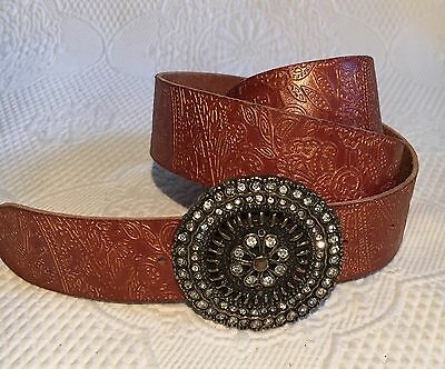 Fossil Embossed Tooled Genuine Leather Rhinestone Buckle Women's Belt Size M