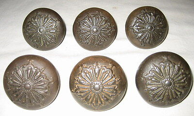 6 Matching, 3 Sets Antique Victorian Ornate Steel Door Knobs with Spindles