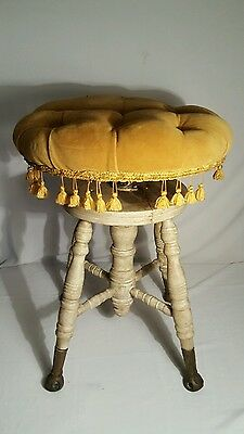 Antique  Chas Parker Piano Stool/ Brass and Glass Feet/ Meriden  CT/Vanity