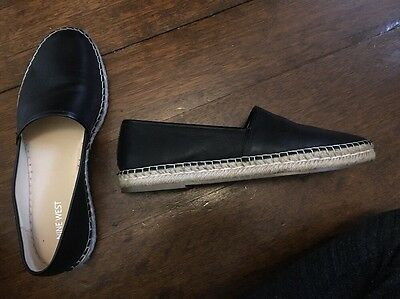 Nine West Leather Black Flats Worn Once As New Size 9.5