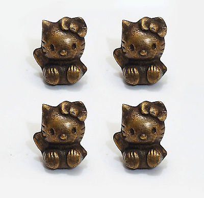 Lot of 4 pcs Vintage HELLO KITTY Disney Cute Knobs Solid Brass Cabinet Pulls