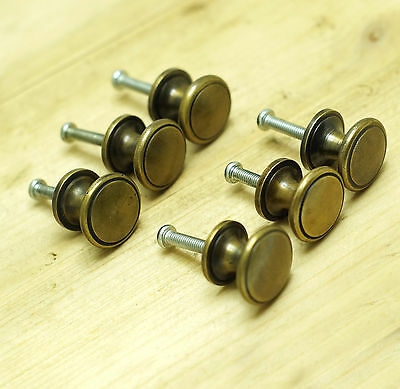 Lot of 6 pcs Vintage Retro Round Cabinet Solid Brass Drawer Handle Knob Pulls