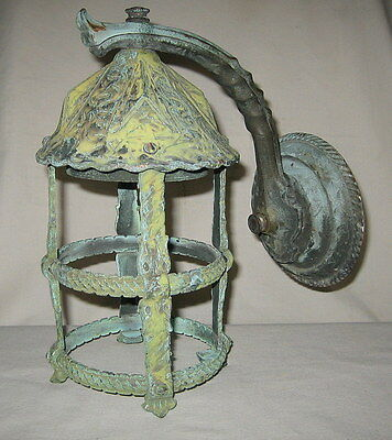 Signed Moe Brothers Craftsman Brass Exterior Sconce Porch Light Verdigris Patina
