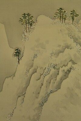 Landscape Hanging Scroll Japan Picture Japanese Painting Asian Old ink sumi y13