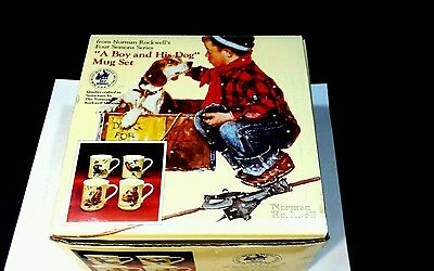 Vintage A Boy and His Dog Coffee Mugs  Cups Norman Rockwell