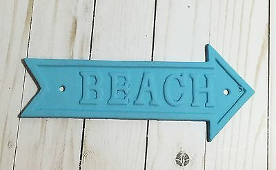 "BEACH Cast Iron Turquoise Plaque Sign Wall Hanging New 9"" x 4"""