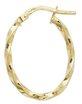 b307c225d 9 carat Yellow Gold Hoop Ladies Oval Twisted Earrings 15MM 0.8gr *FREE UK  POST