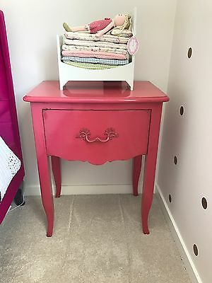 French Provincial Poppy Pink Bedside / Side Table