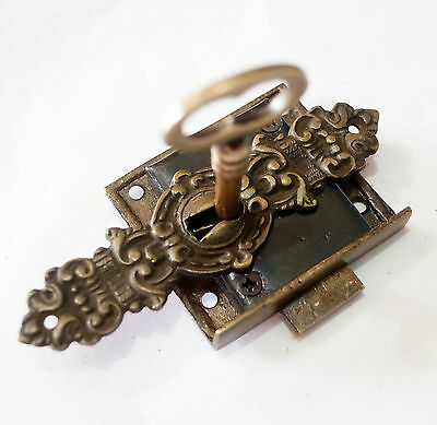 Set Vintage Victorian Era  Keyhole with Working Antique Key LOCK & SKELETON KEY