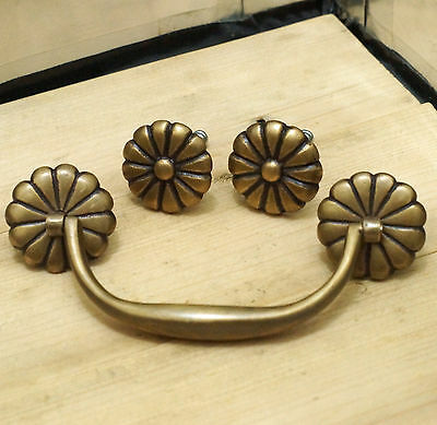 Complete Set Vtg Flowers Rosette Bails Handle and Round Cabinet KNOB Drawer Pull