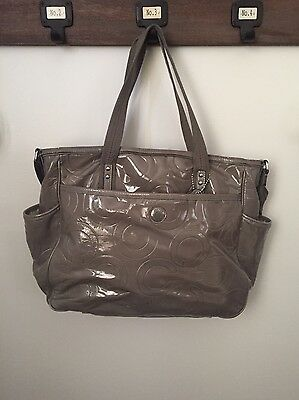 Authentic Coach Silver Grey Diaper Bag Used
