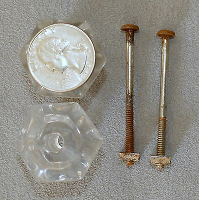Hardware Drawer Pulls Knobs Cabinet Antique Glass Handle Knobs w/ Screws Lot o 2