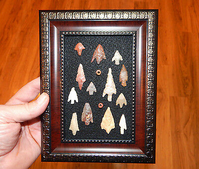Framed Neolithic Artifacts #13 (pre-1600) - Stone Beads - Authentic Arrowheads
