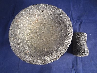 Volcanic rock mortar and pestle