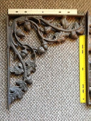 2 Decorative iron brackets Wrought Shelf Architectural acorns leaves vintage dec