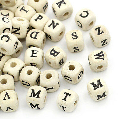 50pcs Alphabet Letter Beads Natural Wooden Cube Jewelry Making DIY Craft Tool