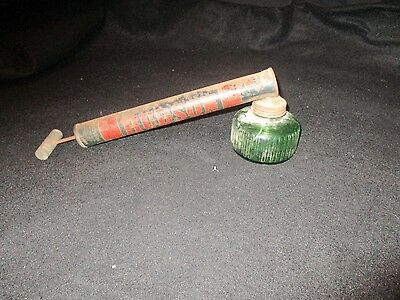 Vintage Antique Mancave Hudson Nebu-Lizor Garden and Bug Sprayer Green Glass Jar