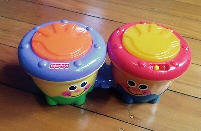 EUC! Fisher-Price Crawl-Along Drum Roll/Bongos with batteries