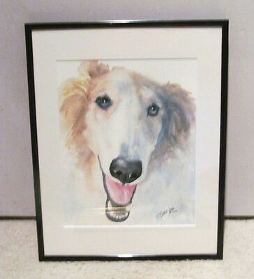 Artist Signed Boecker 2005 Saluki Greyhound Borzoi Dog Watercolor Painting